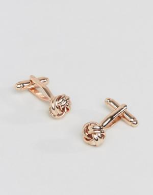 ASOS Розово-золотистые запонки в виде узелков. Цвет: золотой