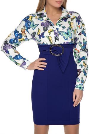 Короткое платье с принтом Бабочки Gloss. Цвет: синий