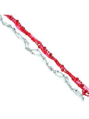 Бусы декоративные с лентой, 200см, пластик, полиэстер, 4 цвета ,VB4, VR1, VS, VG2 СНОУБУМ. Цвет: красный