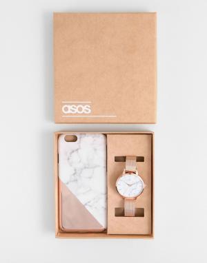 ASOS Подарочный набор из чехла для телефона и часов. Цвет: медный
