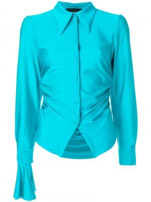 Присборенная рубашка с большими манжетами Erika Cavallini. Цвет: синий
