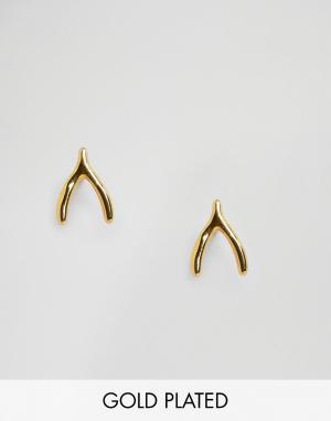 Gorjana Серьги-гвоздики в форме счастливых куриных косточек. Цвет: золотой