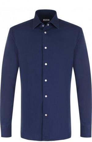 Хлопковая рубашка с воротником кент Kiton. Цвет: синий