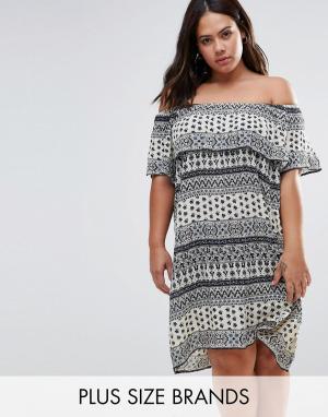 Diya Платье с открытыми плечами и оборками Plus. Цвет: синий