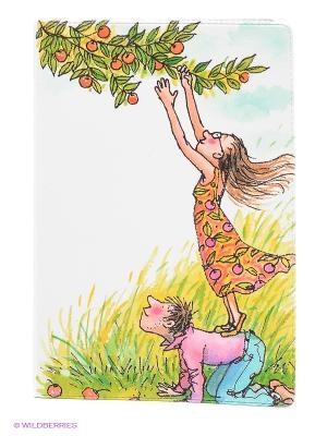 Обложка для паспорта День сбора яблок Mitya Veselkov. Цвет: белый, розовый, желтый