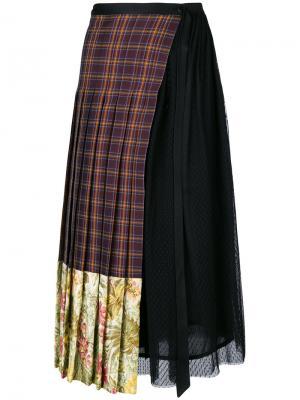 Асимметричная юбка в клетку Antonio Marras. Цвет: многоцветный