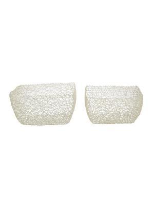 Емкости для хранения Набор из двух корзин, металл Home Visage. Цвет: белый