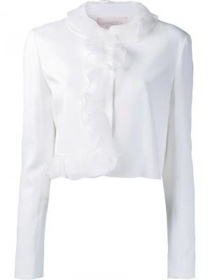Пиджак с рюшами из органзы Giambattista Valli. Цвет: белый
