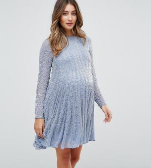 ASOS Maternity Приталенное платье для беременных. Цвет: синий