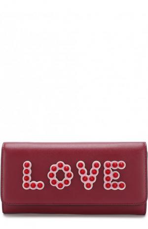 Кожаный кошелек с аппликацией на цепочке Fendi. Цвет: бордовый
