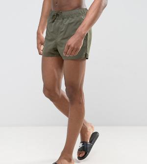 ASOS Ультракороткие шорты для плавания цвета хаки TALL. Цвет: зеленый