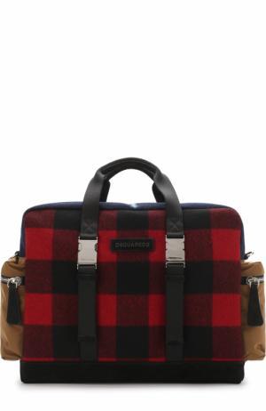 Текстильная дорожная сумка с отделкой из замши Dsquared2. Цвет: разноцветный
