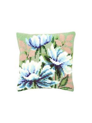 Набор для вышивания лицевой стороны наволочки Синие цветы 40*40см Vervaco. Цвет: голубой, белый, зеленый, розовый, сиреневый