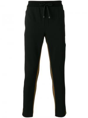 Брюки с лампасами на шнурке Dolce & Gabbana. Цвет: чёрный