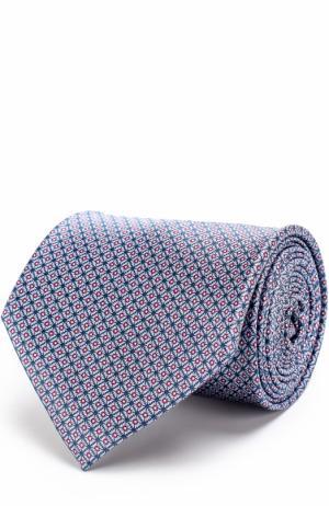 Шелковый галстук с принтом Brioni. Цвет: голубой