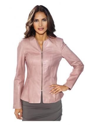 Кожаная куртка Ashley Brooke. Цвет: розовый, черный