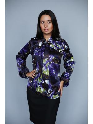 Блузка VIVO. Цвет: сиреневый, темно-коричневый
