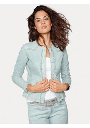 Кожаная куртка Linea Tesini. Цвет: нежно-зеленый