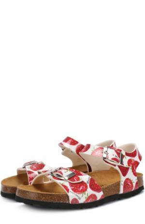 Сандалии с принтом и ремешками Monnalisa. Цвет: красный