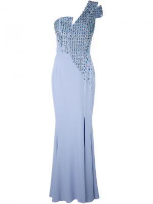 Длинное платье на одно плечо Antonio Berardi. Цвет: синий