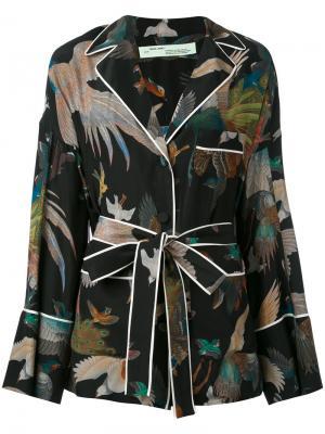 Рубашка в пижамном стиле с принтом птиц Off-White. Цвет: чёрный
