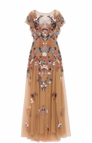 Платье-макси с вышивкой Zuhair Murad. Цвет: светло-розовый