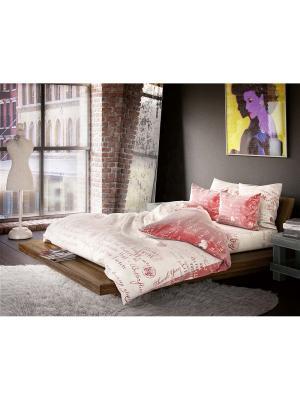 Комплект постельного белья 1,5-сп, ВОЛШЕБНАЯ НОЧЬ, сатин70*70см+40*40см, Лофт, Эссе ночь. Цвет: бежевый, красный
