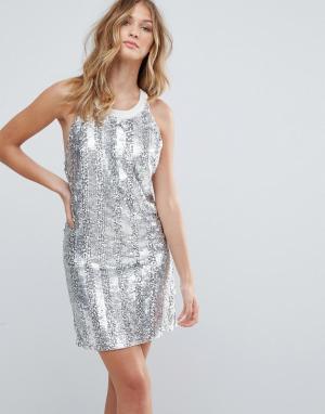 Deby Debo Платье-комбинация с декоративной отделкой Bocara. Цвет: бежевый