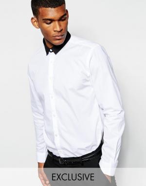 Wincer & Plant Строгая рубашка слим с маленьким контрастным воротником. Цвет: белый