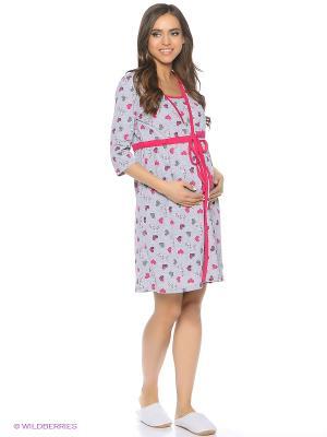 Комплект для беременных и кормящих (халат+сорочка) FEST. Цвет: серый, розовый