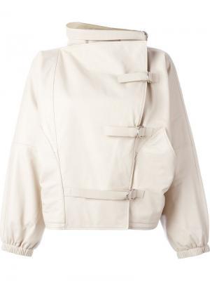 Кожаная куртка с пряжками J.W.Anderson. Цвет: телесный
