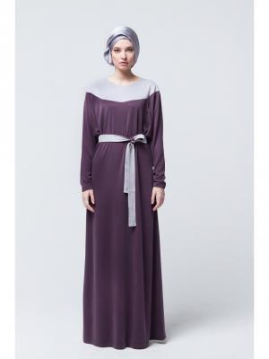 Платье макси трикотажное с поясом фиолетовое Bella kareema