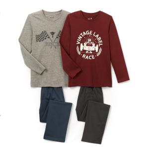 2 пижамы с принтом 2-12 лет La Redoute Collections. Цвет: серый + бордовый