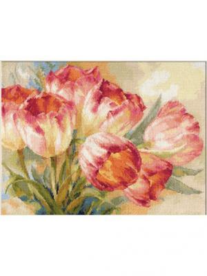 Набор для вышивания Тюльпаны 40х30 см , Алиса. Цвет: белый, розовый