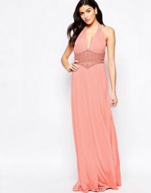 Forever Unique Платье макси с отделкой бисером на поясе Caris. Цвет: оранжевый