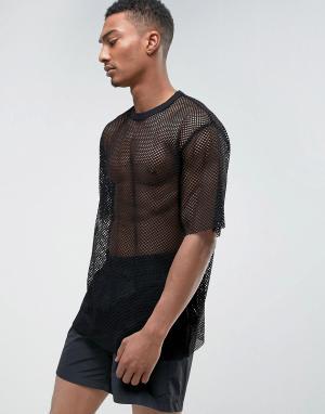 Weekday Сетчатая футболка. Цвет: черный