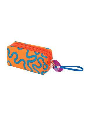 Косметичка Оранжевая с узором EL CASA. Цвет: оранжевый, голубой