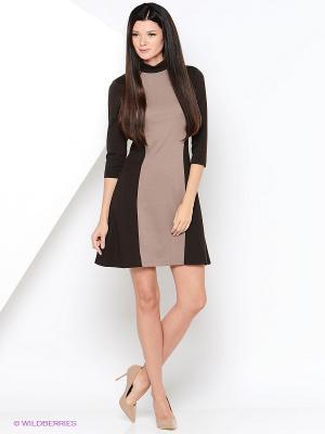 Платье МадаМ Т. Цвет: серо-коричневый, темно-коричневый