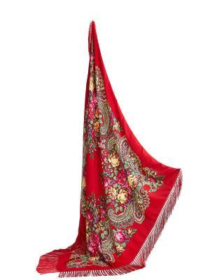 Платок с бахромой Язык цветов Nothing but Love. Цвет: красный, зеленый, розовый