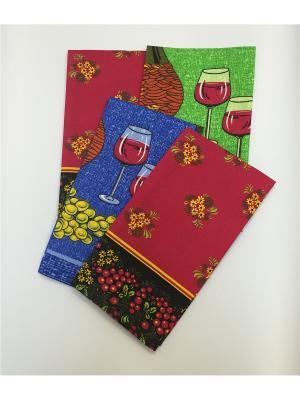 Набор полотенец, 4 шт A and C Collection. Цвет: голубой, красный, зеленый