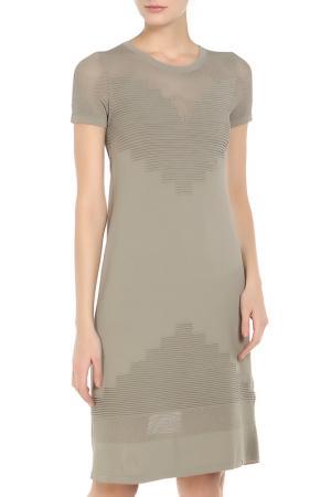 Полуприлегающее платье с короткими рукавами Oblique. Цвет: серый