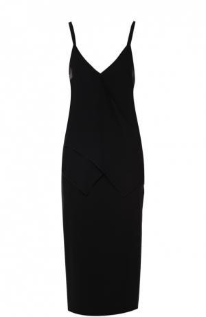 Платье-комбинация с оборками и высоким разрезом Rochas. Цвет: черный