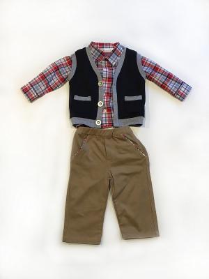 Костюм для мальчика La Pastel. Цвет: серый, белый, голубой, красный, светло-коричневый