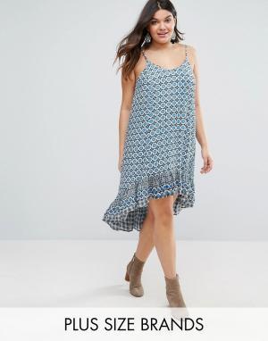 Diya Платье с асимметричной кромкой Plus. Цвет: синий