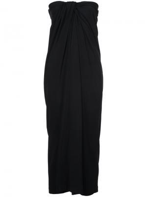 Платье без бретелек с драпировкой спереди Rosetta Getty. Цвет: чёрный