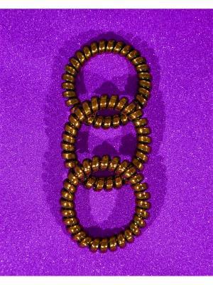 Резинка пружинка 3 шт. Bizon. Цвет: коричневый