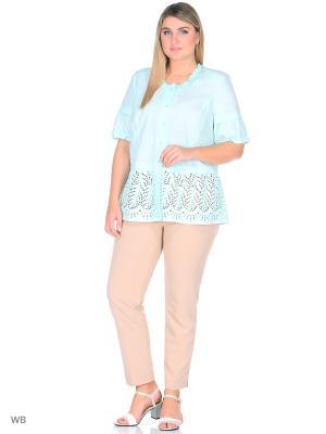 Блузка BERKLINE. Цвет: бирюзовый