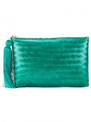 Плетеный клатч Kayu. Цвет: зелёный