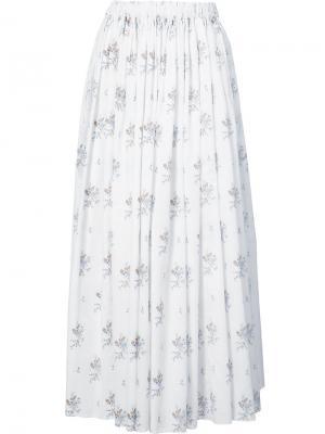 Длинная юбка с принтом Emilia Wickstead. Цвет: белый