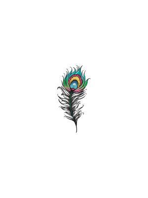Временное тату Перо павлина МнеТату. Цвет: белый, голубой, желтый, зеленый, красный, синий, черный
